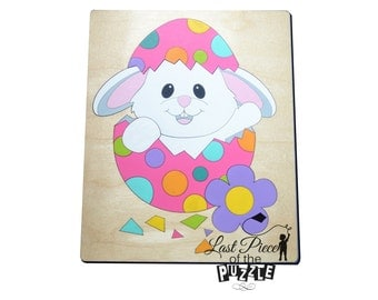 Easter Time Wooden Puzzle, Wood Puzzles, Preschool Puzzle, Easter Bunny, Rabbit, Egg, Flower