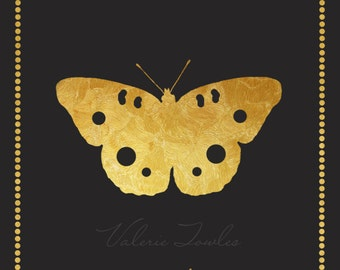 Black and Gold Butterfly Print Home Decor