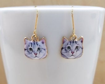 White Cat Charm Earrings
