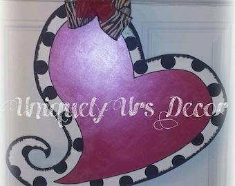 Curly Heart Door Hanger, Valentines Door Hanger, Heart Door Hanger, Door Hanger