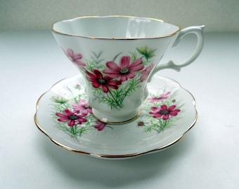 Royal Albert Tea Cup Saucer Lyric Shape Friendship Series Cosmos Flowers Ruffled Gilded Birthday Wedding Anniversary Collector Gift