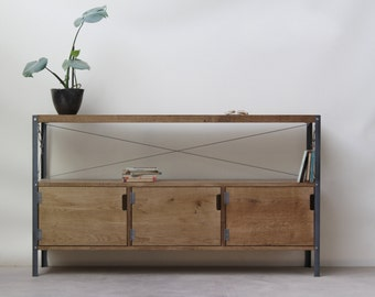 1.2m Oak INDUSTRIAL TV Stand, Cupboard, Console  [Bespoke sizes!] Rustic Reclaimed