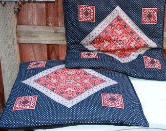 "Reduced/Set of 2 - 19"" Floor Pillows Floor Cushion Covers/Floor Sitting Cushion Covers/Meditation Pillow Cases/Boho 70's Floor Pillow Cases"