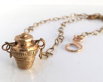 A Sculpted Urn pot necklace,art jewelry,folk art,roman, grecian,egyptian,assyrian,relic,artifact,rustic,aztec,charm,boho,gypsy,wearable art