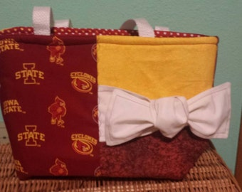 Iowa State Cyclone bag with polka dot liner