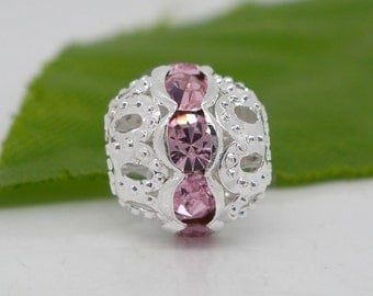 50 SP Pink Hollow Rhinestone Spacer Beads 10x9.5mm
