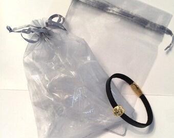 Organza jewellery bag in silver grey 16x11cm