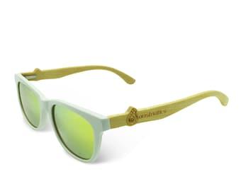 Boostnatics Bamboo Wood Boosted Turbo Shades/Sunglasses - White / Polarized Gold