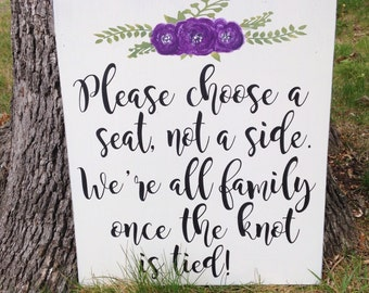 Please Choose A Seat- Hand Painted Sign- Wedding Sign- Wedding Seating- Wedding Decor - Wood Wedding Sign - Shabby Wedding Decor