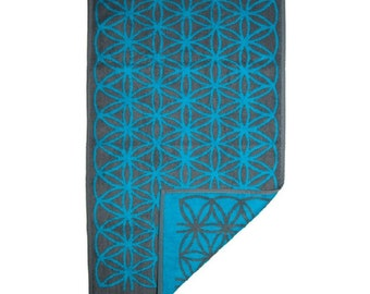 FREE SHIPPING Gift for Men Decorative Hand Towel with Flower of Life in Grey and Blue Bathroom Art