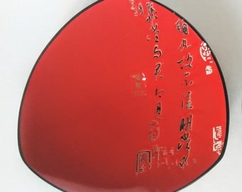 Asian Home Decor - Ceramic Plates - Red Kitchen Decor - Vintage Ceramics - Red and Black Plates - Red Asian Decor - Vintage Asian Dishes
