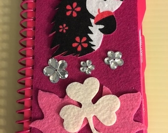 Mini Hedgehog Spiral Felt Covered 2016 Planner with Leaves and Shamrock.  Perfect size to fit in your Pocket or Purse.