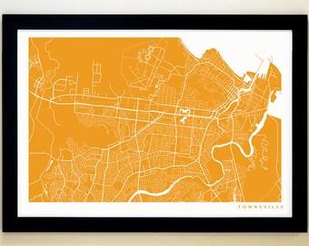TOWNSVILLE Map Art Print, Giclée Print, Townsville Wall Art