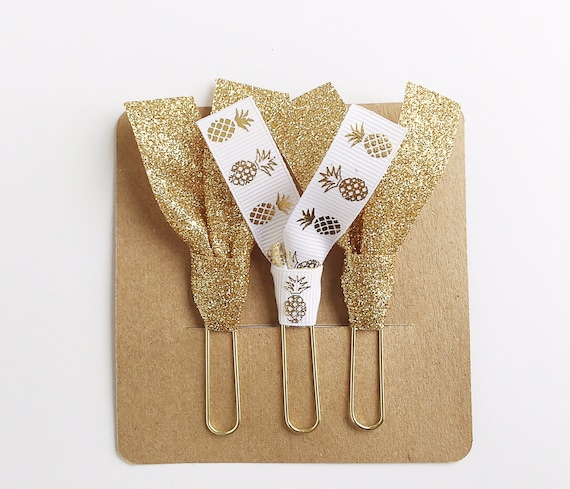 Gold Pineapple and Gold Glitter Ribbon Paper Clips - Set of Three - Great for Planners, Notebooks, Bookmarks & More!