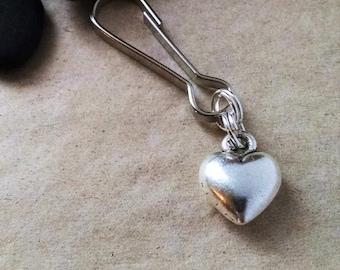 Heart Zipper Pull, Heart Keychain, Key Chain, Gift For Her, Girl, Valentine's Day Gift, Gift for Teen, Best Friend, Friendship, Bestie, Love