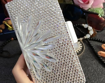 Charms Sparkle Bling Flip Slot Cards Holder Silver Feather Crystals Wallet Leather Rhinestones Diamonds Fashion Cover Case for Mobile Phones