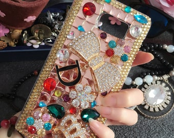 Luxury Bling Charms Golden Letter D Bow Crown Flowers Sparkles Gems Crystals Rhinestones Diamonds Lovely Hard Cover Case for Mobile Phones
