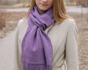 lavender Lilac handwoven wrap merino wool scarf for her READY TO SHIP