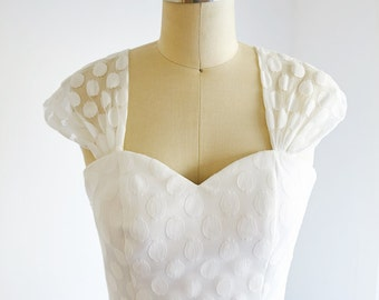 Vintage Cap Sleeves Polka Dots Lace Wedding Dress Short Tea Length Bridal Gown
