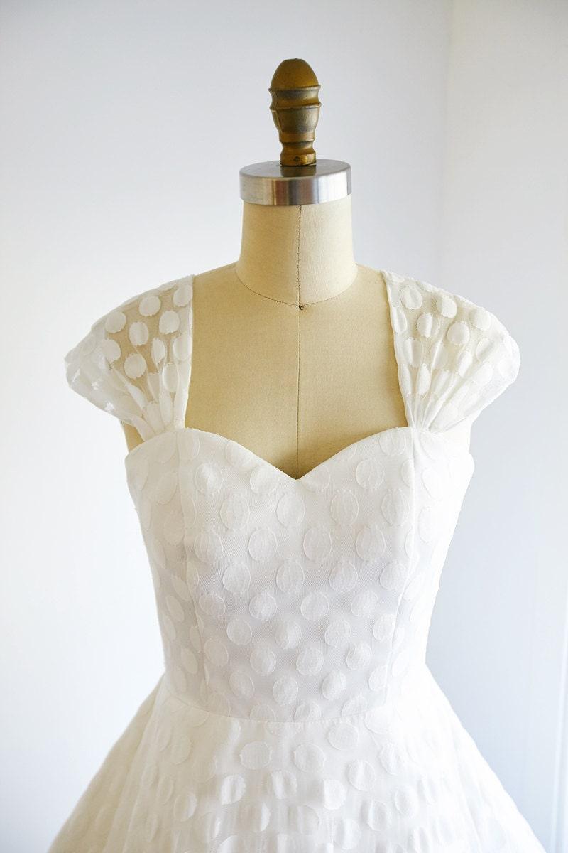 Vintage cap sleeves polka dots lace wedding dress by aboverly1 for Wedding dress lace cap sleeves vintage
