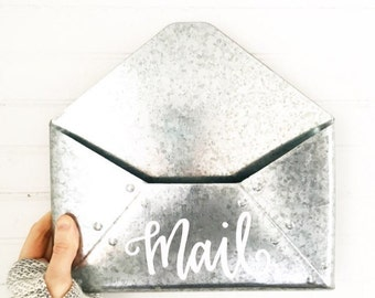 Galvanized Metal Mail Holder