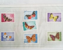 Butterfly postage stamps, vintage philatelic, Rumania 1969 postal stamps, collectors philately,  postmarked paper ehemera