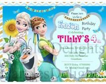 Elsa, Anna, Olaf, Frozen Birthday invitations, Printable party invitations, DIY Frozen Invitations