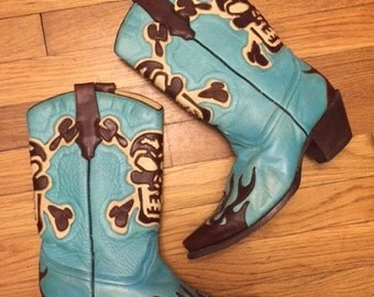Wingtip Skull cowboy boots/Western/Blue Turquoise/Size8