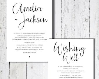 LOVE STORY Black and White Invitation Set, Digital Invitation, Engagement Invite, Wedding Invitation, Wishing Well