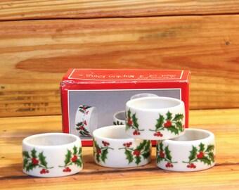 Porcelain Napkin Ring Holders Set of 4.  Box 197-198