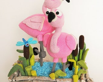 flamingo and dragonfly - crochet pattern by mala designs