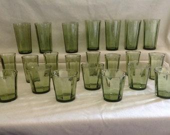 Vintage Green Glassware Set - 22 pieces - 1970's