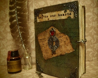 "Handmade Vintage Journal: ""Key To Our Hearts"""