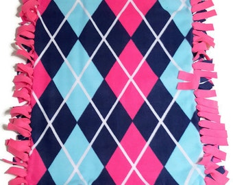 Fleece Baby Blanket - Fleece Blanket - Baby Girl Blanket - Baby Girl Gift - Baby Shower - Argyle Blanket - Plaid Blanket - Pink Blanket