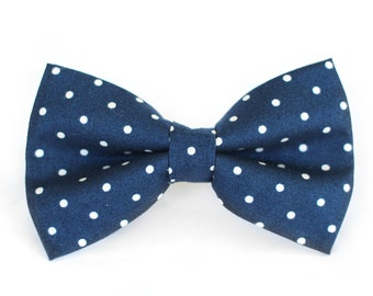 Navy Polka Dot Bow Tie | Mens Wedding Bow Tie | Mens Bow Tie | Toddler Bow Tie | Boys Bow Tie | Dog Bow Tie | For Him | Groomsmen