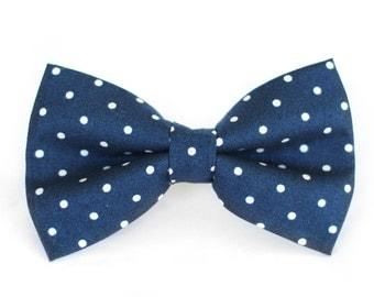 Navy Polka Dot Bow Tie   Mens Wedding Bow Tie   Mens Bow Tie   Toddler Bow Tie   Boys Bow Tie   Dog Bow Tie   For Him   Groomsmen