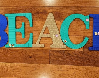 SALE! Beach Letters, Beach Home Decor, Decorative Letters, Beach House Decor, Letters for Mantle, Summer Sale, Ocean Theme Decor, Beach