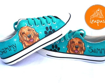 Golden Retriever Shoes, Sneakers, Hand Painted sneakers, dog shoes, Hand Painted, canvas shoes, trainers, hand painted shoes, low tops, dogs