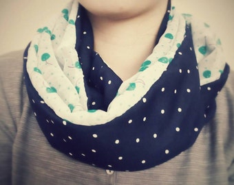 Handmade and hand-sewn infinity scarf with two prints/ navy/polka dots/ cherries/woman/fashion/infinity/chic