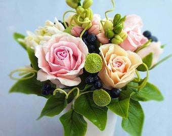 rose flowers in cup, artificial flower arrangements, faux flowers, flower arranging