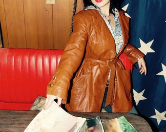Vintage Womens Leather Jacket-Rust-Trench-70s-Montgomery Ward-Size L