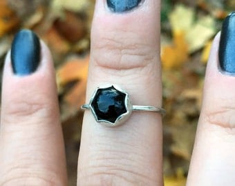 SALE! Scalloped Sterling Silver Natural Black Onyx Stacker Ring