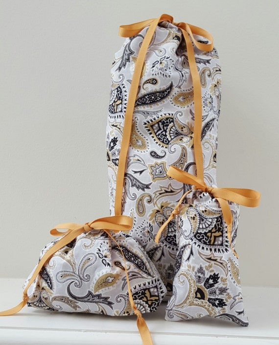 Paisley Print Bag; Drawstring Paisley Print Bag; Lined Drawstring Bag; Gift Bag