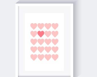 Light Pink Hearts Print, Nursery Pink Print, Love Pink Print, instant download, pastel pink print