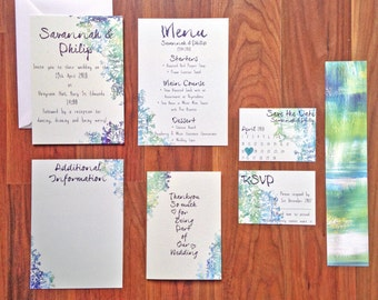 Modern Abstracts in Green 'Imogen' - Wedding Stationery - SAMPLE PACK ONLY