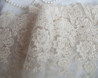 ivory cream cotton embroidered mesh lace trimming, embroidery floral lace, elegant fine wedding fabric by the yard