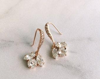 Rose gold earrings wedding - bridesmaids earrings