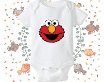 Sesame Street Elmo face onesie, Sesame Street Elmo face bodysuit - baby onesie - clothing baby onesie - gift baby onesie