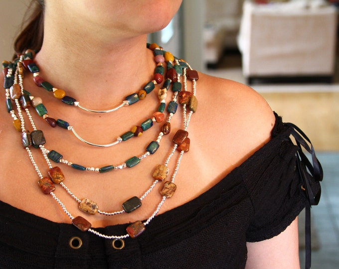 5 Strand multi gemstone bib necklace