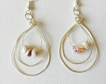 Sea Shells Silver Triple Wire Hoop Earrings